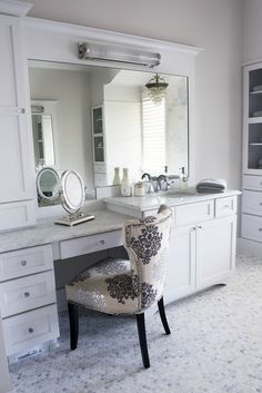 white bathroom, dressing table at vanity, marble floor Bathroom Drawers, Bathroom Stuff, Bathroom Design Inspiration, Marble Floor, White Bathroom, Color Pallets, Country Chic, Design Projects, Design Ideas