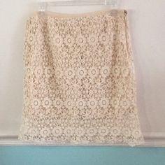Solitaire crochet skirt over linen cream lining Solitaire by Ravi Khosla cream crochet skirt. Crochet is 100% cotton fabric. Cream lining in 100% cotton. Size Large Solitaire by Ravi Khosla Skirts Midi