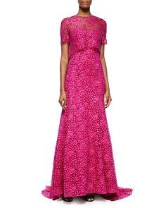 Fringe-Lace Overlay Gown, Pink by Lela Rose at Neiman Marcus.