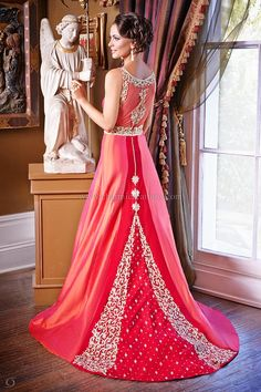 Evening Gowns - 2 tone coral and orange fusion wedding gown with a ...
