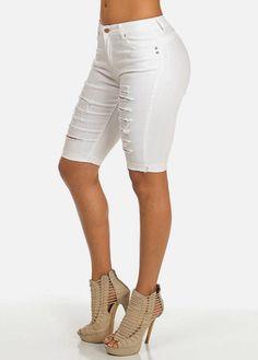 White Butt Lift Ripped Denim Bermuda Shorts