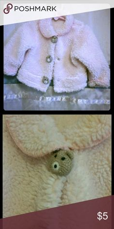 Fuzzy Pink Teddy Jacket For Baby Girl Adorable and cozy!  Light pink fuzzy fleece button front jacket for baby girls.  Collared with cuffed sleeves.  Whimsical teddy bears on the snap buttons. Nice and warm!  EUC.  Size 12 months Jackets & Coats Blazers