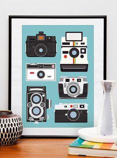Polaroid camera print wall decor Nursery  print  Camera poster - Polaroid, Rolleiflex, Holga  A3 size Baby blue