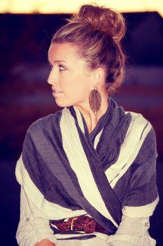 bun, earrings & belted scarf