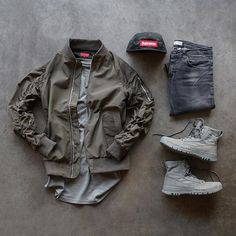 "WEBSTA @ kicksonmyfeet_ - Green Day@killionest bomber@knyew tee@zara denim@supremenewyork camp cap@nike SFB 6"" boots"