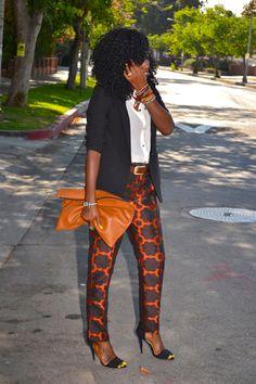 Style Pantry | Boyfriend Blazer + Chiffon Blouse + Floral Jacquard Pants