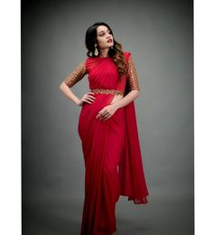 You Can Shop Stunning Celebrity Ethnic Outfits Here! You Can Shop Stunning Celebrity Ethnic Outfits Here! Half Saree Designs, Silk Saree Blouse Designs, Fancy Blouse Designs, Blouse Patterns, Skirt Patterns, Coat Patterns, Fancy Sarees, Party Wear Sarees, Saree With Belt