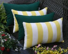 SET OF 4  - Yellow and White Stripe & Solid Hunter / Forest Green Indoor / Outdoor Rectangle / Lumbar Pillows