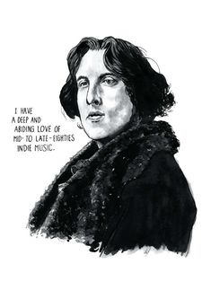 Oscar Wilde: novelist, playwright, all-round wit - but did you know he was a big fan of mid- to late-80s indie music too? This music poster portrait print imagines hed be (or have been) a big fan of that scene - why wouldnt he be, he had great taste!  The caption reads: I have a deep and abiding love of mid- to late-eighties indie music.  What would be in Oscar Wildes record collection, do you think? Cocteau Twins? The Jesus and Mary Chain? The Wedding Present? My Bloody Valentine? The…