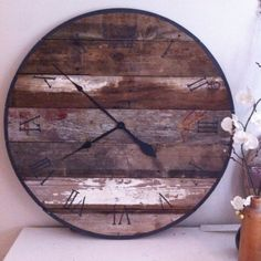 Large 3ft clock made of 100 yr old barn wood