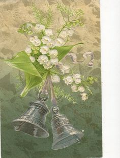 Easter Greetings Silver bell  with lilies  by sharonfostervintage, $2.00
