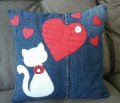 Pillow made from recycled jeans leg . - Pillow made from recycled jeans leg … ♥, …, - Applique Pillows, Patchwork Pillow, Sewing Pillows, Quilted Pillow, Cute Pillows, Diy Pillows, Decorative Pillows, Fabric Crafts, Sewing Crafts