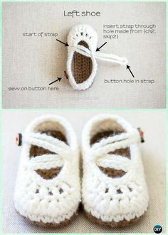 Crochet Double Strapped Mary Janes Free Pattern - Crochet Baby Booties Slippers Free Pattern