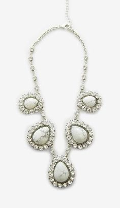 Unknown Eggshell And Crystal Necklace