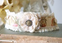 Wrist Corsage Fabric Flower Cuff Bracelet by rosyposydesigns