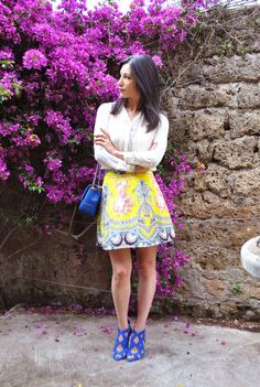 Gonna gialla MSGM, yellow. blue, skirt, high heels, outfit primavera estate 2016, trend, heels, zara, ootd, look, moda 2016, fashion, trend chic - outfit fashion blogger Heels Allure by Marianna Farese