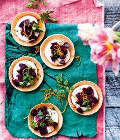 Beetroot and Goat cheese tarts  (have to say that as a collector of Fine cooking magazines, the ones from Australia, New Zealand and Europe, definitely beat the North American ones...Even the presentation of these magazines is outstanding...
