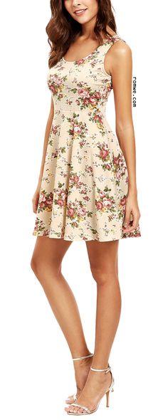 Apricot Sleeveless Florals Skater Dress