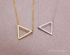 Triangle+Necklace+N012+/+gold+silver+geo+by+MinthologieStudio