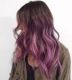 Brown And Pink Hair, Light Purple Hair, Purple Wig, Brown Ombre Hair, Ombre Hair Color, Light Brown Hair, Light Hair, Brown Hair Colors, Dark Hair