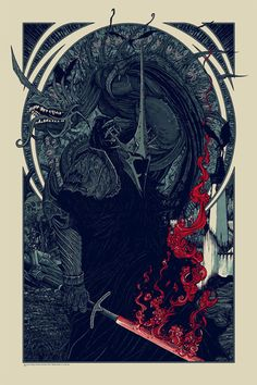 """""""Witch King and Fell Beast"""" Lord of the Rings Print by Florian Bertmer  (Onsale Info)"""