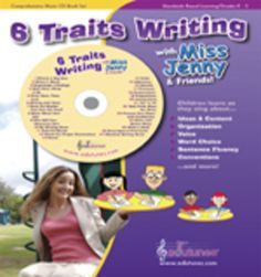"""6 Traits of Writing CD-Book Set Digital Download / Common Core-Aligned / 27 Songs / 64 Page Book / """"Jenny's Class and Edutunes""""  Children learn the six traits of great writing along with presentation skills and all parts of speech in 27 songs. The 64-page book includes lyrics to all songs, directions for creating quality student-generated rubrics for grades K-5, and dozens of additional ideas for improving your students' writing skills."""