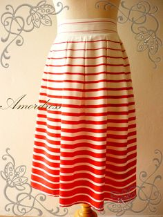 Vintage Inspired Playful Red Stripe Skirt