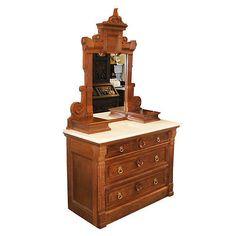 Antique-1890-s-Walnut-Eastlake-Victorian-Marble-Top-Dresser-with-Mirror