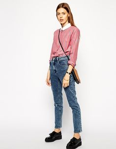 562ea8d98a5a ASOS Long Sleeve Shirt in Stripe with Contrast Plain Collar at asos.com