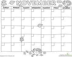Worksheets: Create a Calendar: November