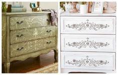vapsimo-syrtarieras-me-stencils-3 Painted Furniture, Stencils, Dresser, Rustic, Antiques, House, Home Decor, Country Primitive, Antiquities