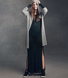 Knit Dress ($12.95) and Hooded Knit Cardigan ($34.95) | H&M US