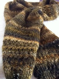 Autumn wool scarf hand knit from Wensleydale wool by herie7, $60.00