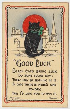 Lucky Black Cat - embossed ink 1931 Good Luck postcard