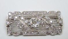 Antique Diamond Brooch Pin Platinum EGL USA Art Deco Vintage Estate Fine Jewelry #Handmade