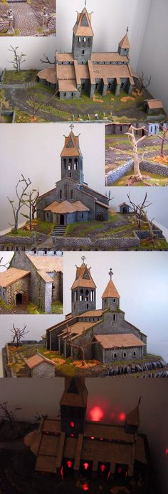 Diablo Tristram Cathedral Scenery Building by Galvanyzer Tabletop, Hirst Arts, Warhammer Terrain, Game Terrain, Wargaming Terrain, Fantasy House, Fantasy Miniatures, Train Layouts, Fairy Houses