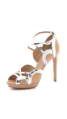 Aquazzura: Tequila Sunrise Sandals. Buckled ankle strap. Covered platform and heel.