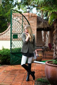 Fall Denim Favorite. Not-so-over the top blk boots. Layering light grey skinny jean, blk flowy blouse w/dark green blazer