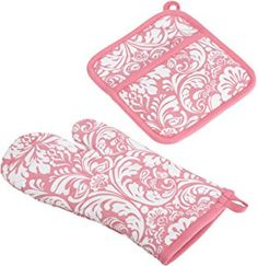 """DII Cotton Damask Oven Mitt 12 x 6.5"""" and Pot Holder 8.5 x 8"""" Kitchen Gift Set, Machine Washable and Heat Resistant for Cooking and Baking-Pink"""