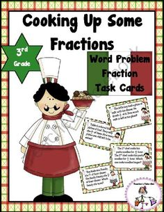 Cooking Up Some Fractions- Word Problem Task Cards from Teachers Take Out on TeachersNotebook.com -  (8 pages)  - Fraction Word Problem Task Cards