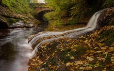 Download wallpapers Gelt Bridge, autumn, waterfall, yellow fallen leaves, forest, River Gelt, England