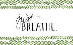 Green white Breathe watercolour vines pattern desktop wallpaper background