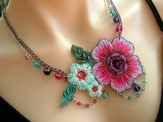 Statement Necklace with Bright Applique Fabric Flower and Swarovski Crystal with chain Deep Pink Magenta and Turquoise