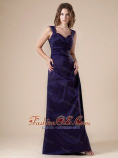V-neck Floor-length Purple Satin 2013 Bridesmaid Dress  http://www.fashionos.com  http://www.facebook.com/fashionos.us  Heads will turn as you arrive at your prom or formal in this stunning long dress. This dress features two wide straps with a sweetheart neckline and ruched bodice. The skirt is modified with slight ruffles in front and back till the very bottom, which makes the dress more charming