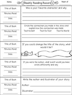 Weekly Reading Records with Daily Comprehension Writing Activities$ SET 2