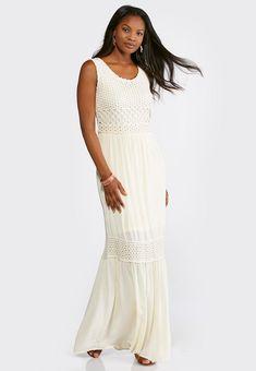 474b79ef21c Plus Size Tiered Crochet Trim Maxi Dress Dresses Cato Fashions