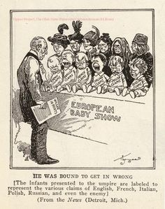 Cartoon by Burt Randolph Thomas, published in the American newspaper The Detroit News, 1919, depicting the US president Woodrow Wilson.