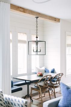 Farmhouse Dining Room Decor Ideas – Is it dining room or dinning room? Banquette Seating In Kitchen, Farmhouse Dining Room Table, Dining Nook, Dining Room Design, Booth Seating In Kitchen, Corner Banquette, Nook Table, Dining Table, Table Bench