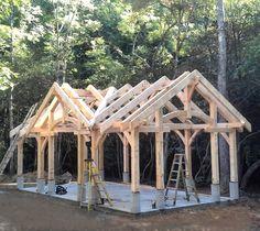Creekside timber frame pavilion. Next up: T&G ceiling, roof, rock work & pizza oven!