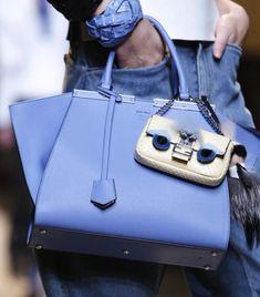 Fendi Light Blue Trois Jours Bag with Python Baguette Micro Bag- Spring 2015
